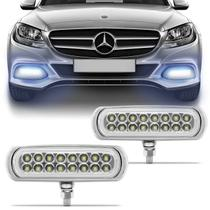 Kit Farol Milha Auxiliar Slim Universal 16 LEDs 12V Luz Azul 8 Efeitos Autopoli -