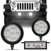 Kit Farol Milha Auxiliar Universal Strobo Safety Car 6 LEDs 12V Efeito Xênon Luz Branca Autopoli -