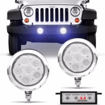 Kit Farol Milha Auxiliar Universal Strobo Safety Car 6 LEDs 12V Luz Azul 9 Efeitos Autopoli -