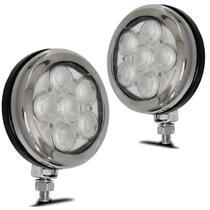 Kit Farol Milha Auxiliar Universal Strobo Safety Car 6 LEDs 12V Luz Branca 9 Efeitos Autopoli -