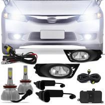 Kit Farol Milha New Civic 2009 2010 2011 Auxiliar Neblina + Par Lâmpadas Super LED 6000k - Kit Prime