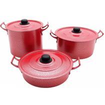 Kit Feijoada de Alumínio 3 Peças com Caldeirão / Panela / Frigideira - Vermelho - Pluglar
