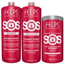 Kit Felps Sos Shampoo + Condicionador 1000ml + Máscara 300g - Felps Professional