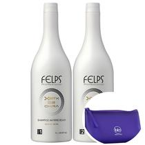 Kit Felps Xbtx De Okra Escova Progressiva (2 Produtos) + Nécessaire Roxo Beleza Na Web - Felps profissional