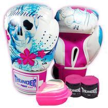 f869dda5e kit feminino Boxe   Muay Thai   Kickboxing - luva 12 oz caveira mexicana  azul +