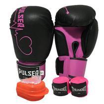 kit feminino Boxe / Muay Thai / Kickboxing - luva 12 oz preta coração rosa + bandagem + protetor bucal - Thunder Fight PULSER - REF 747 -