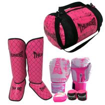 554d5c991 Kit FEMININO Muay Thai Kickboxing - Luva 10 OZ BRANCA RISCO ROSA +  caneleira 20mm + bandagem + protetor bucal + bolsa - Thunder Fight - ref  1108