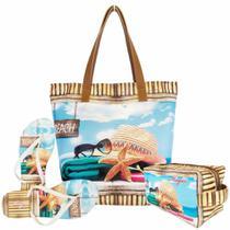 Kit Feminino Praia com Bolsa, Necessaire e Chinelo, Magicc - Magicc Bolsas