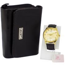 Kit Feminino Relógio Preto e Dourado + Carteira - Orizom
