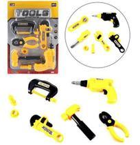 Kit ferramenta infantil com furadeira + martelo e acessorios 7 pecas na cartela - Ark Brasil -
