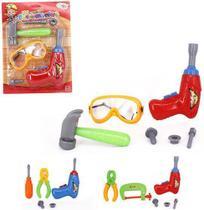 Kit ferramenta infantil com parafusos e acessorios colors na cartela wellkids - Wellmix -