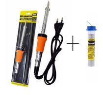Kit Ferro Soldar Eda com suporte 30, 40 ou 60 watts + 1 Tubo Estanho 25 gramas -