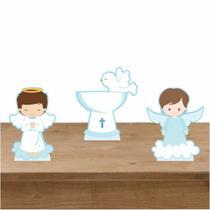 Kit Festa 3 Displays de Mesa Batizado Menino 2 - Inove Adesivos
