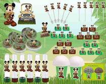 Kit Festa Infantil Mickey Safari 265 Peças (30 pessoas) -