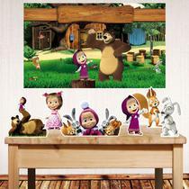 Kit festa Masha e o Urso com painel poli banner + displays de mesa - Companhia Do M.D.F