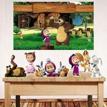 Kit festa Masha e o Urso com painel poli banner + displays de mesa - Companhia Do Mdf