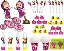 Kit festa Masha e o Urso (pink e amarelo) 99 peças (10 pessoas) - Produto Artesanal