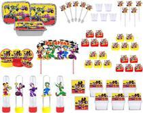 Kit festa Mickey Aventura Sobre Rodas 121 peças (10 pessoas) -