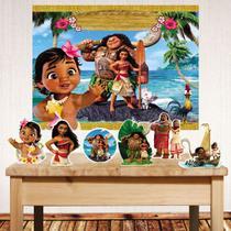 Kit festa Moana com painel poli banner + displays de mesa - Companhia Do Mdf