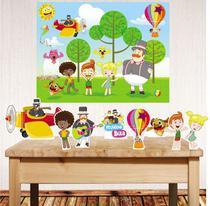 Kit festa Mundo Bita com displays de mesa e painel poli banner - Companhia do M.D.F