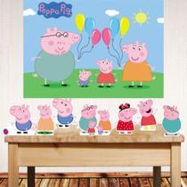 Kit Festa Peppa Pig com  Displays de mesa e painel poli banner - Companhia Do Mdf
