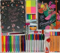 Kit fichário colegial pequeno capricho+planner+canetas e acessórios TILIBRA -