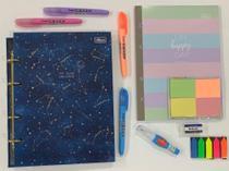 Kit fichário colegial pequeno magic e acessórios Tilibra colorido -