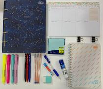 Kit fichário colegial pequeno magic + planner semanal soho e acessórios TILIBRA -