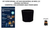 Kit filtro espuma e 3 saco descartável aspirador electrolux aqp20 -