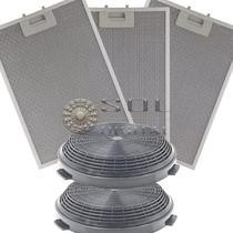 Kit Filtros Metálico E Carvão P/ Coifa Ilha Electrolux 90cit -