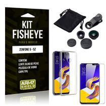 Kit Fisheye Asus Zenfone 5/5z Lente Fisheye + Capa + Película de Vidro - Armyshield -