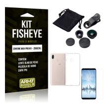 Kit Fisheye Asus Zenfone Max Pro M1 Lente Fisheye + Capa + Película de Vidro - Armyshield -