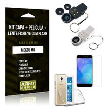 Kit Fisheye com Flash Meizu M6 Fisheye Flash + Capa + Película de Vidro - Armyshield
