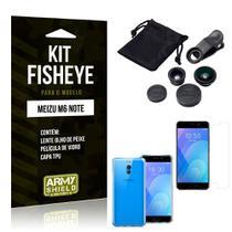 Kit Fisheye Meizu M6 Note Lente Fisheye + Capa + Película de Vidro - Armyshield -