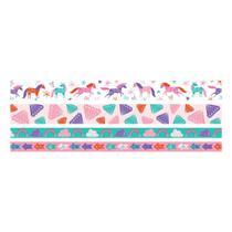Kit Fita Adesiva Decorativa Washi Tape WER401 Unicórnios com 4 peças -