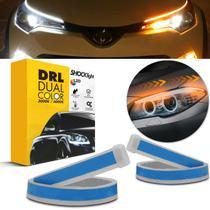 Kit Fita de LED DRL Dual Color Universal 3000K 6000K 12V 6,8W 30cm Farol com Função Seta Sequencial - Shocklight