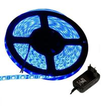Kit Fita LED 3528 Azul, rolo 5m com fonte 12V para alimentação - Gigaled