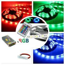 Kit Fita LED 5050 Full RGB Para Sanca 10M Colorido: 2 rolos de 5 Metros, 1 Fonte 10 Ampéres e 1 Emenda Amplificadora - Gigaled