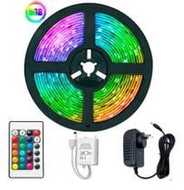 Kit Fita Led 5050 Rgb Controle + Fonte Controladora 5 Metros - Store 7D