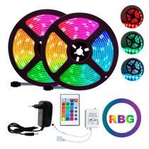 Kit Fita LED Rgb 5m Colorido Prova D'Água C/ Controle+Fonte - As Emporio