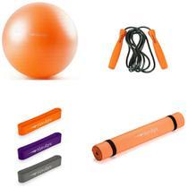 Kit Fitness Bola 65cm + Tapete Yoga + Mini Band + Corda - Hidrolight