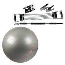 Kit Fitness MOR Tonificação Muscular 5 Peças + Bola Suíça com Ilustrações Pilates 65 CM LIVEUP -
