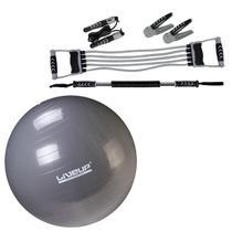 Kit Fitness MOR Tonificação Muscular 5 Peças + Bola Suíça Pilates 85 CM Liveup -