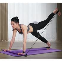 Kit Fitness para Treino Pilates E Yoga Extensor Com Barra E Elástico Exercício Funcional - Portable Pilates Studio