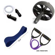 Kit Fitness Prottector Hardcore - corda pro + extensor + rubber band + roda -