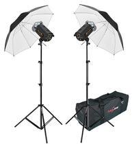 Kit Flash Estúdio Atek 2x100 Plus Tripé Sombrinha Branca e Bag -