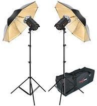 Kit Flash Estúdio Atek 2x100 Plus Tripé Sombrinha Ouro e Bag -