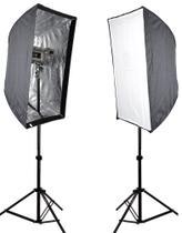 Kit Flash Estudio Atek Compact 2x150W com Tripé e Softbox 60x90cm -