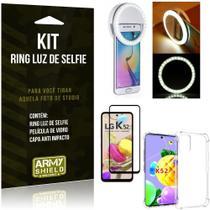 Kit Flash Ring LG K52 Flash Ring + Capa Anti Impacto + Película de Vidro 3D - Armyshield -