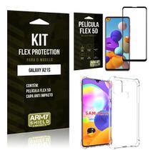Kit Flex Protection Galaxy A21s Capa Anti Impacto + Película Flex 5D - Armyshield -